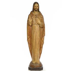 Sacro Cuore Gesù 100 cm pasta di legno dec. effetto scalpello s1