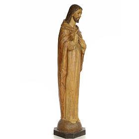 Sacro Cuore Gesù 100 cm pasta di legno dec. effetto scalpello s4