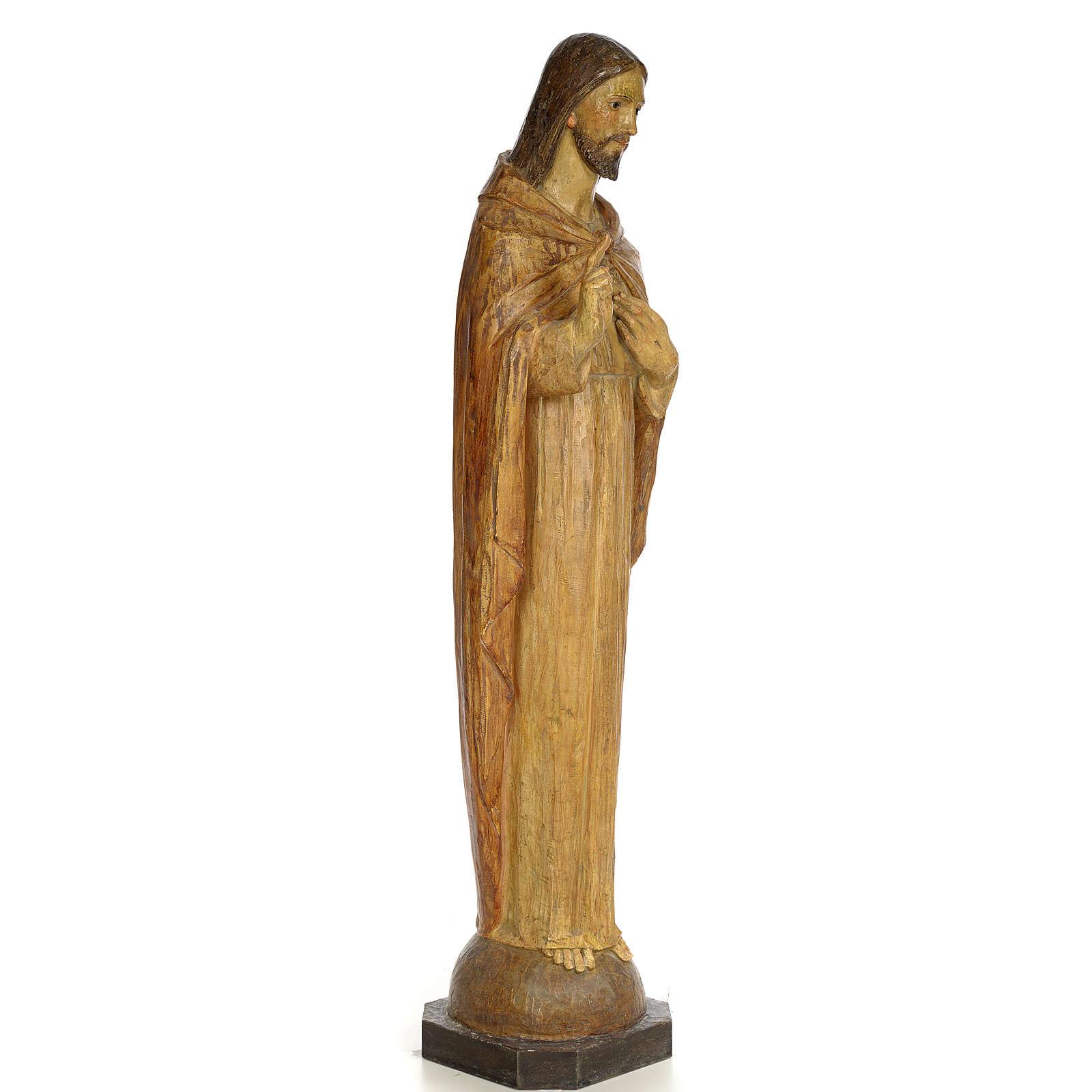 Sacred Heart of Jesus, 100cm in wood paste, chiselled effect dec 4