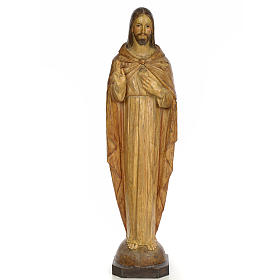 Sacred Heart of Jesus, 100cm in wood paste, chiselled effect dec s1