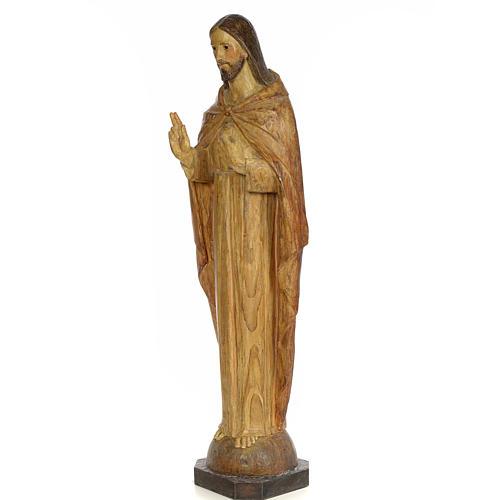 Sacred Heart of Jesus, 100cm in wood paste, chiselled effect dec 2