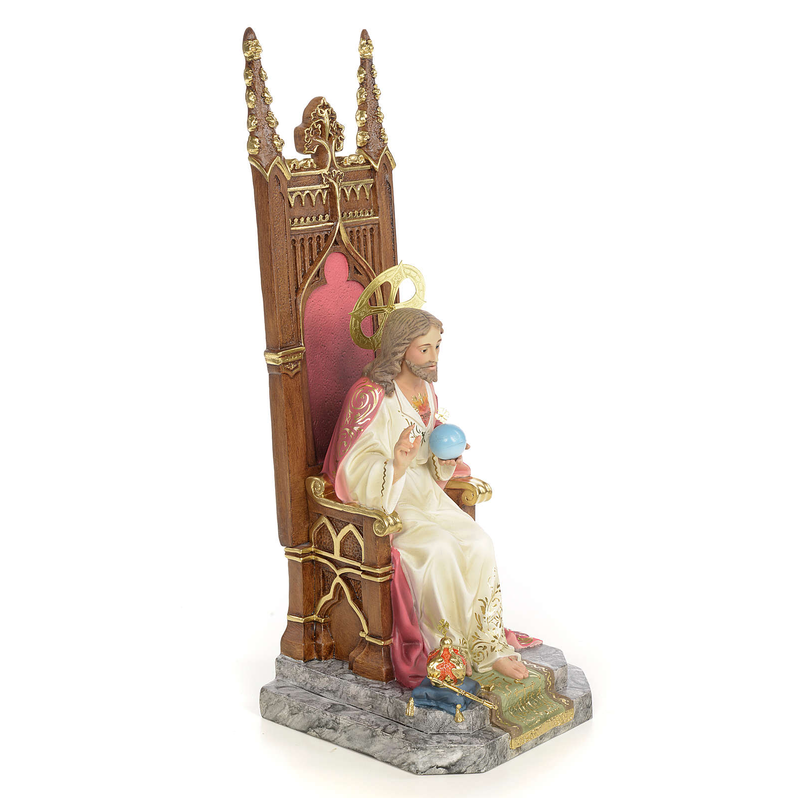 Sacred Heart of Jesus on throne statue 30cm, wood paste, elegant 4