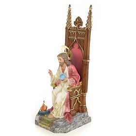 Sacred Heart of Jesus on throne statue 30cm, wood paste, elegant s2