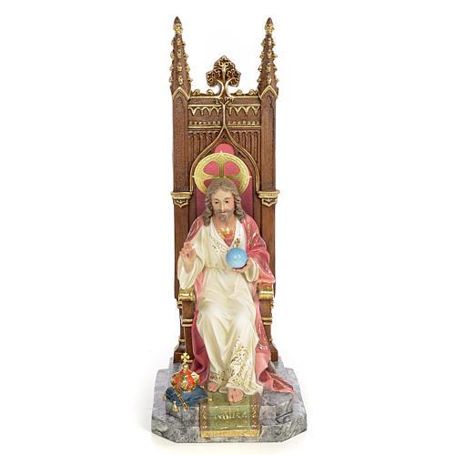 Sacred Heart of Jesus on throne statue 30cm, wood paste, elegant 1