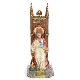 Sacro Cuore di Gesù in trono 30 cm dec. elegante s1