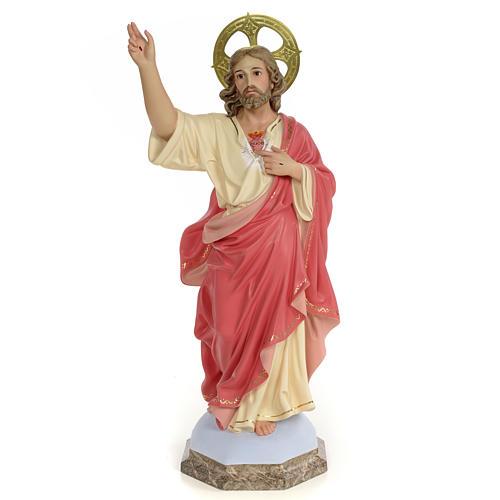 Sagrado Corazón de Jesús 60cm Pasta de madera dec. 1