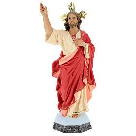 Sacro Cuore di Gesù 60 cm pasta di legno dec. fine