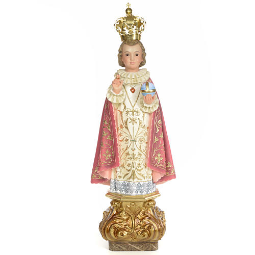 Gesù Bambino di Praga 80 cm pasta di legno dec. elegante 1