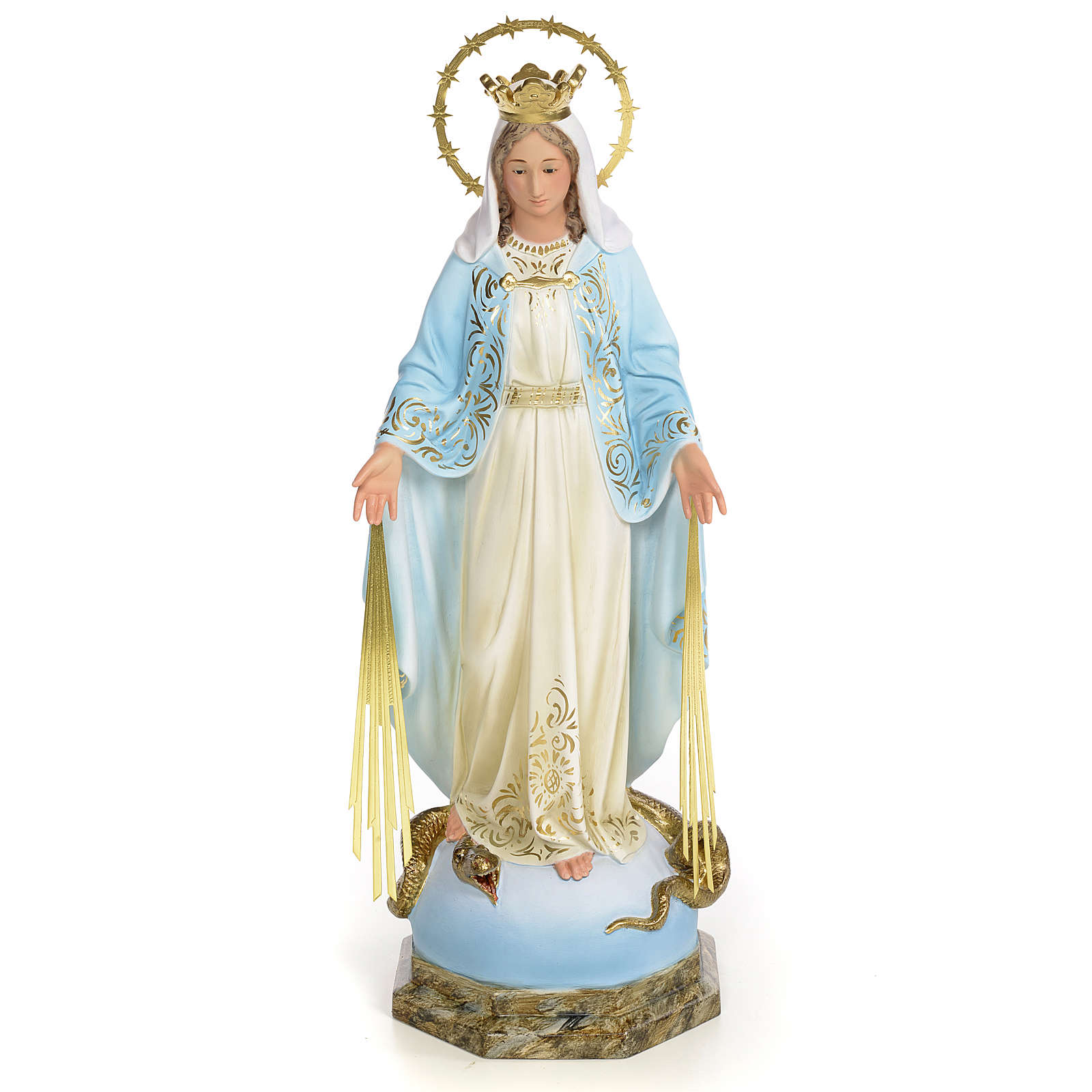 Vergine Miracolosa 50 cm pasta di legno dec. elegante 4