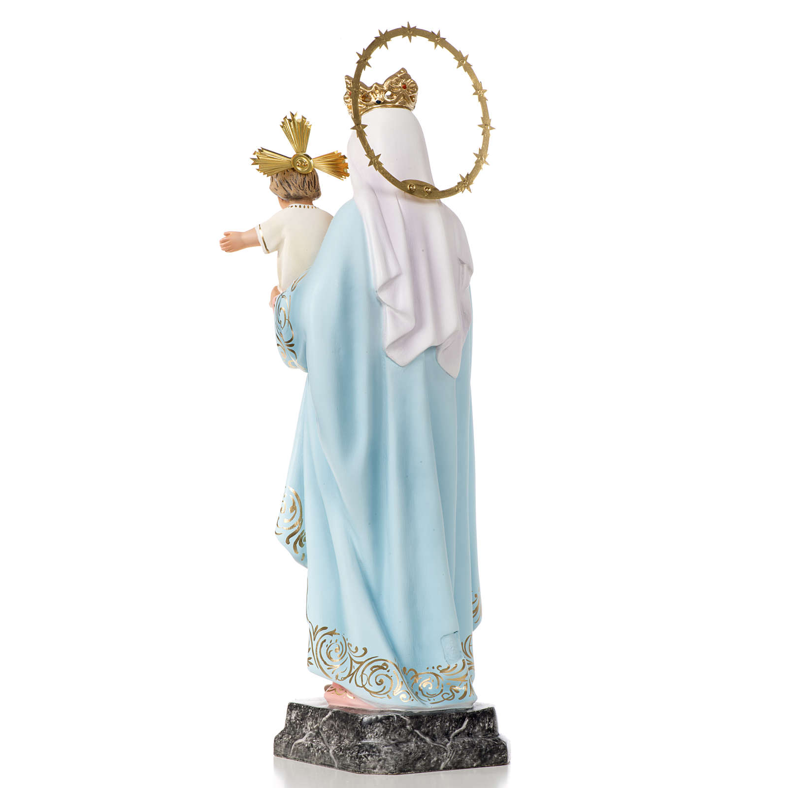 Our Lady of the Rosary statue 40cm, wood paste, elegant decorati 4