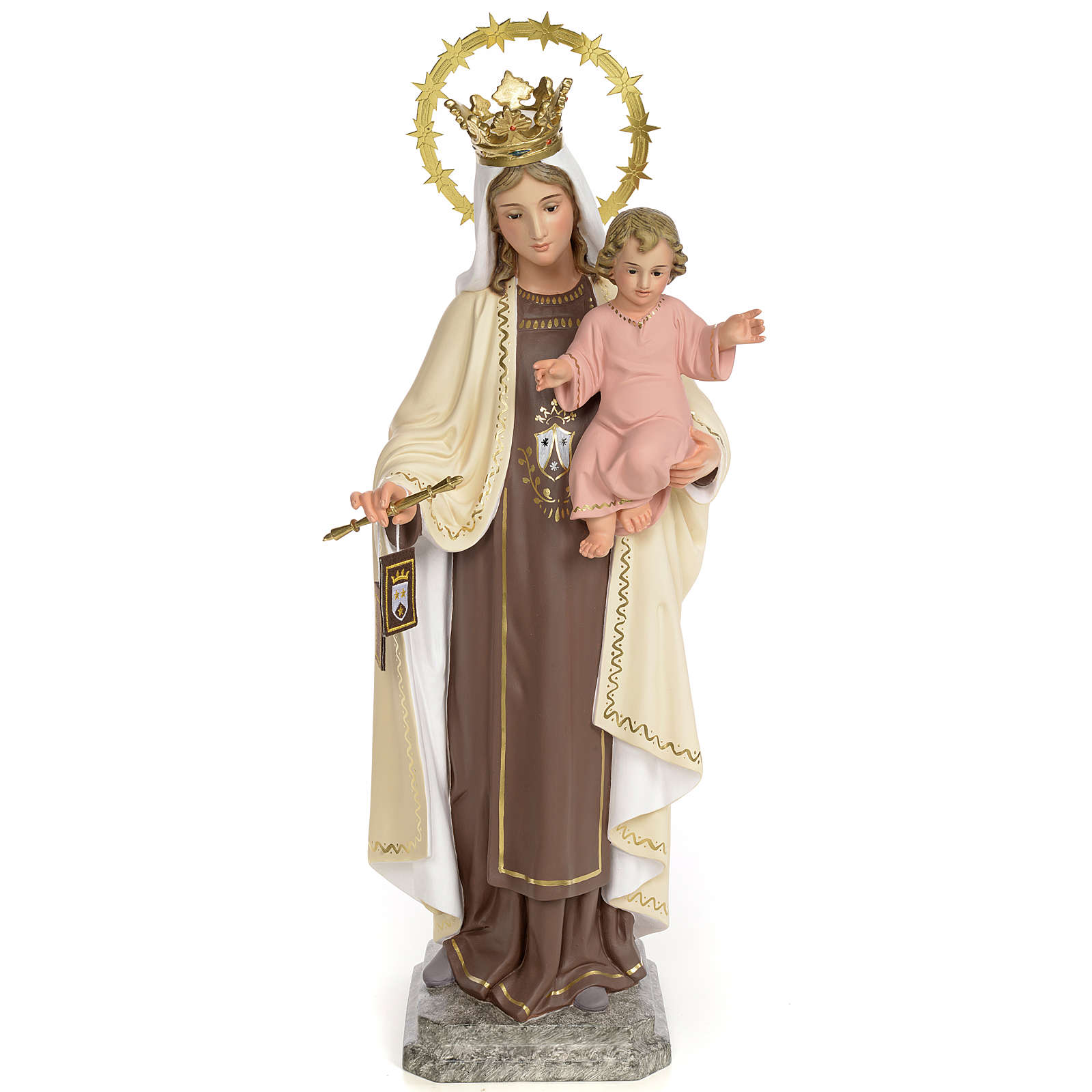 Virgin of Mount Carmel 40cm, wood paste, fine decoration 4