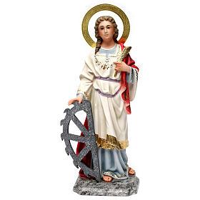 Statues en bois peint: Ste Catherine martyre 40c pâte bois élégante
