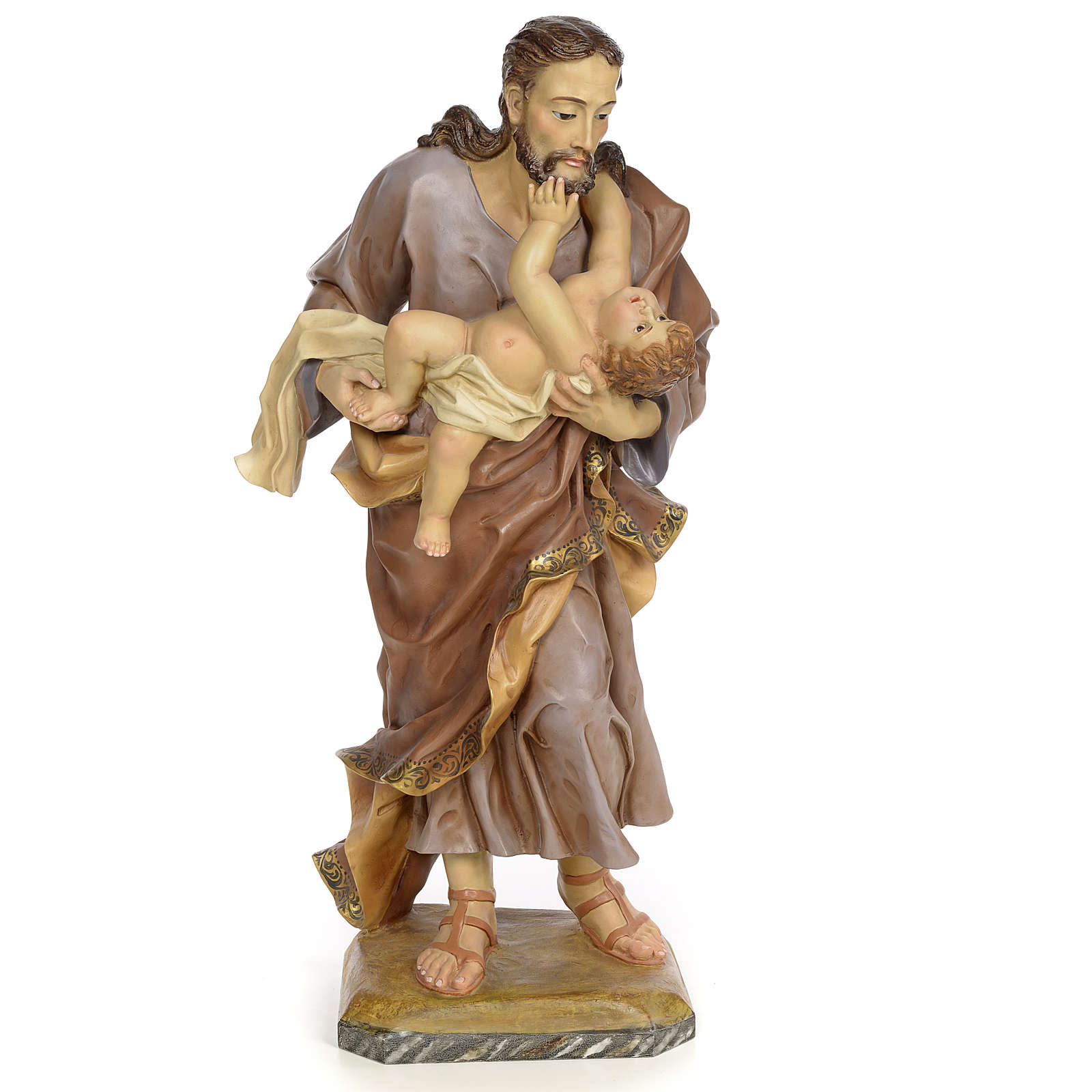 St Joseph et enfant 80 cm pâte à bois fin. vieillie 4