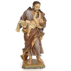 St Joseph et enfant 80 cm pâte à bois fin. vieillie s1