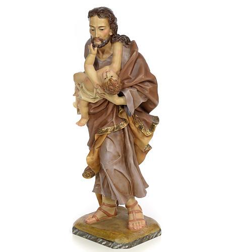 St Joseph et enfant 80 cm pâte à bois fin. vieillie 2
