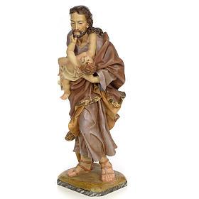 San Giuseppe con bambino 80 cm pasta legno dec. anticata s2