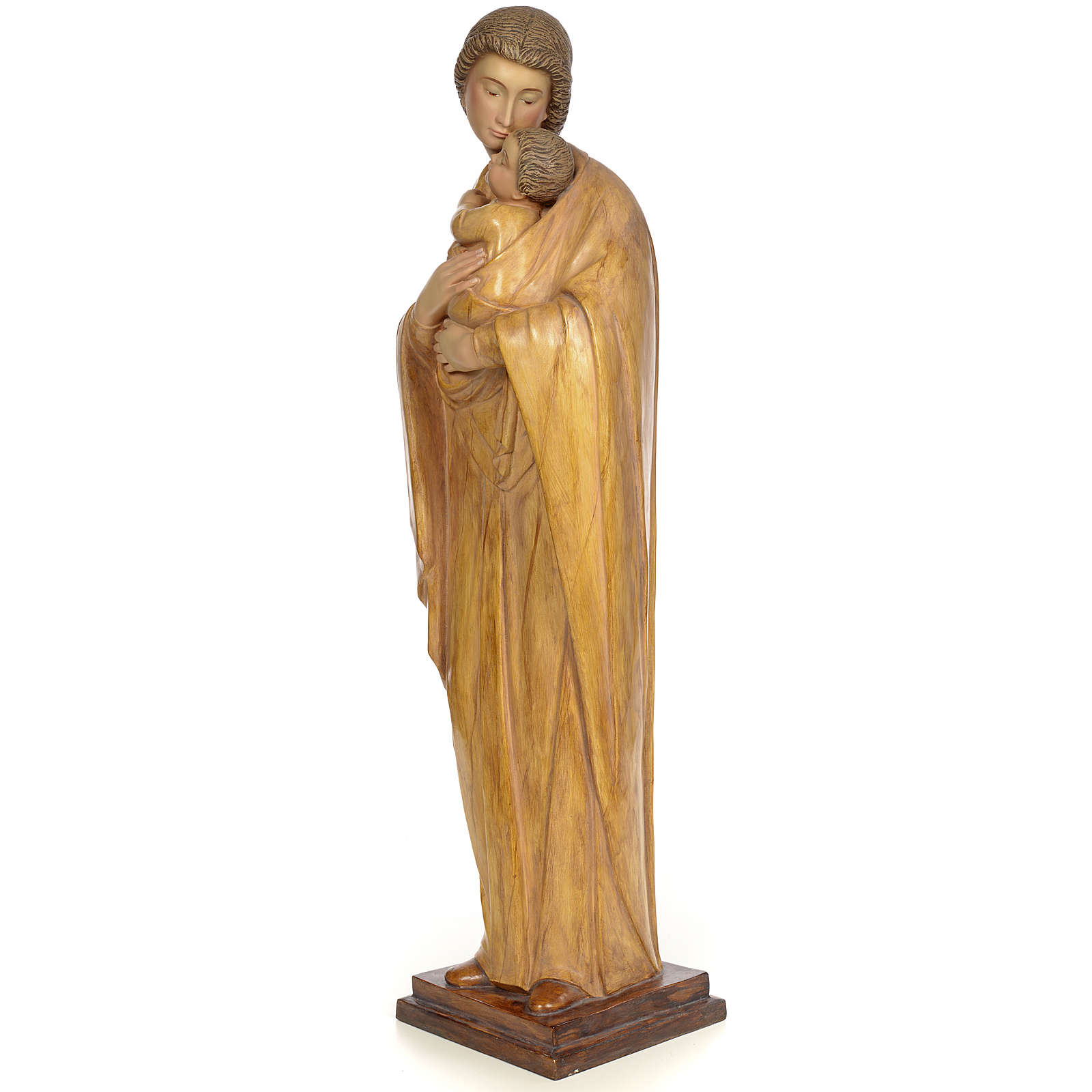 Virgin and baby 100cm wood paste, burnished decoration 4