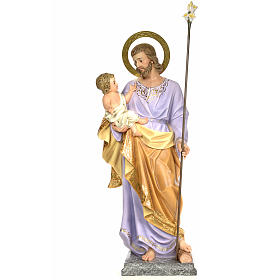 San Giuseppe con bambino 120 cm pasta di legno dec. elegante s1