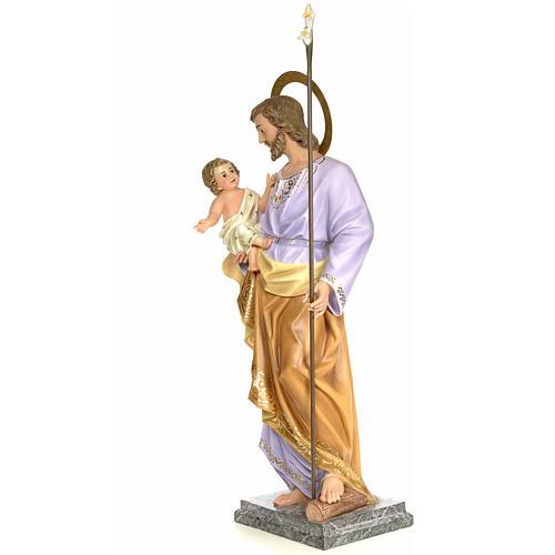 San Giuseppe con bambino 120 cm pasta di legno dec. elegante 2