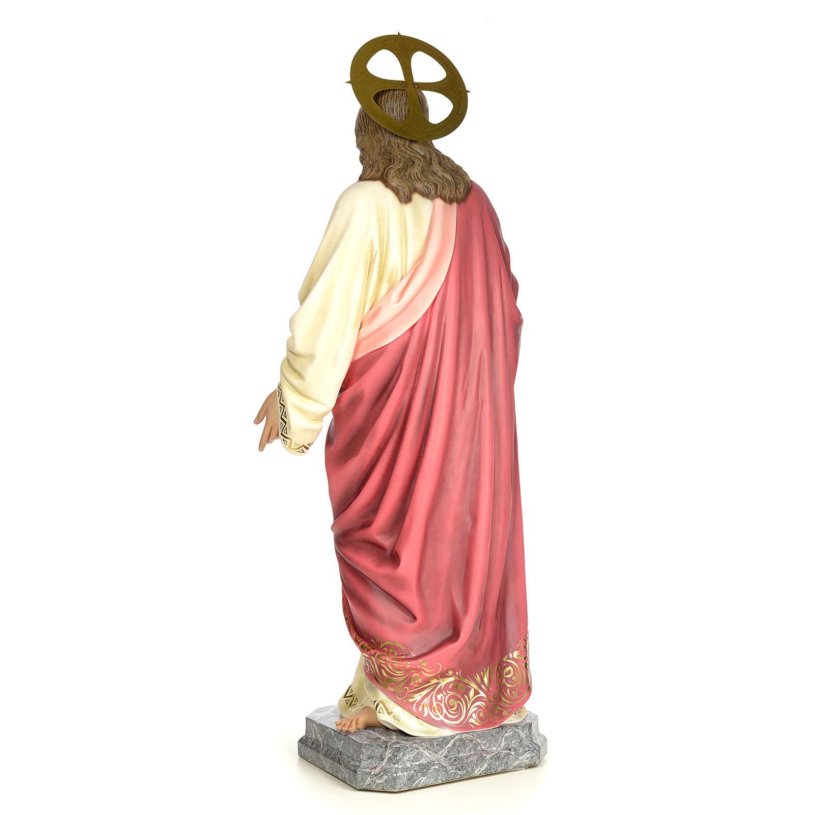 Sacro Cuore Gesù 120 cm pasta di legno dec. elegante 4