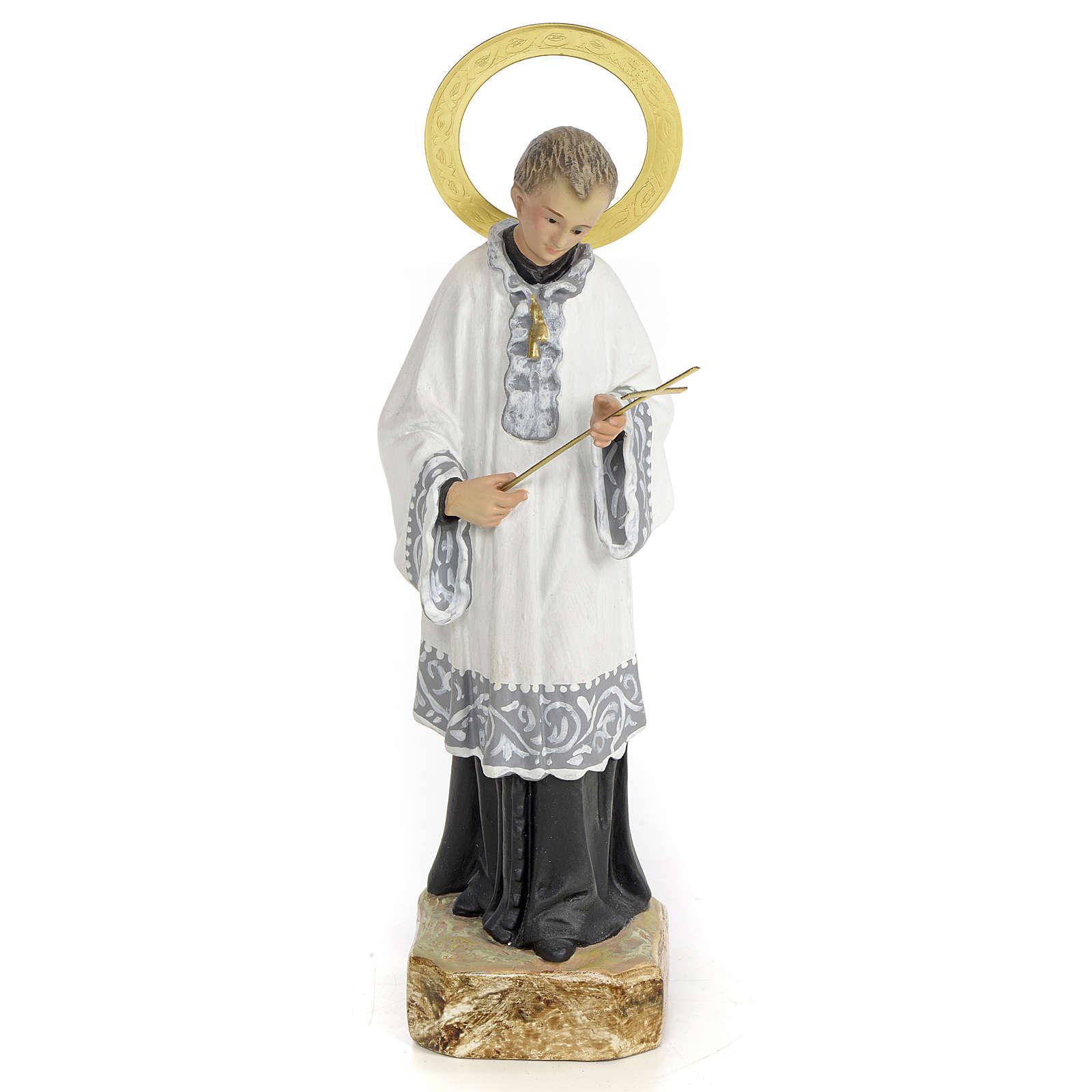 San Luigi Gonzaga 20 cm pasta di legno dec. elegante 4