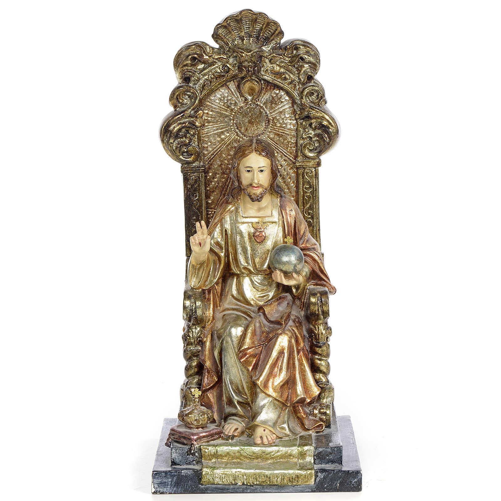 Sacro Cuore Gesù 25 cm pasta legno dec. policroma 4
