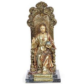 Sacro Cuore Gesù 25 cm pasta legno dec. policroma s1