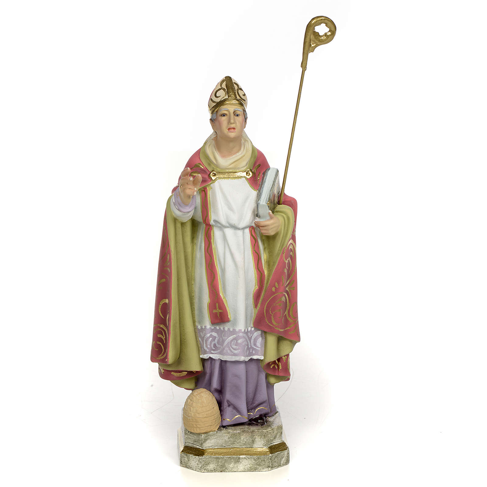 San Biagio Vescovo 20 cm pasta di legno dec. elegante 4