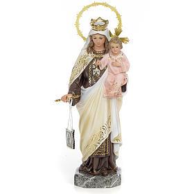 Statues en bois peint: Notre-Dame du Mont-Carmel 30 cm fin. élégante pâte à bois