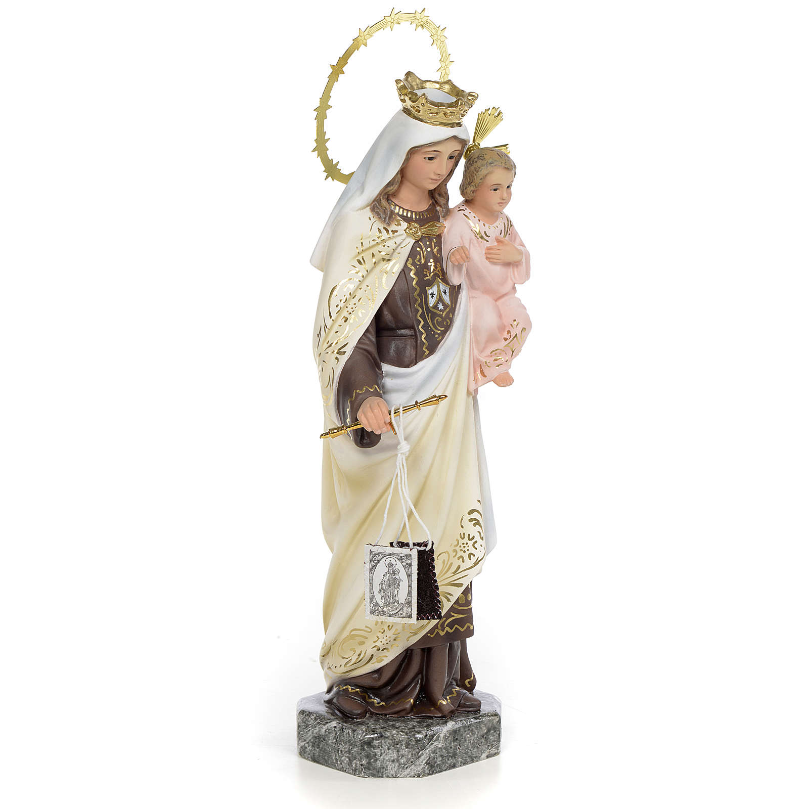 Our Lady of Mount Carmel 30cm wood paste, elegant decoration 4