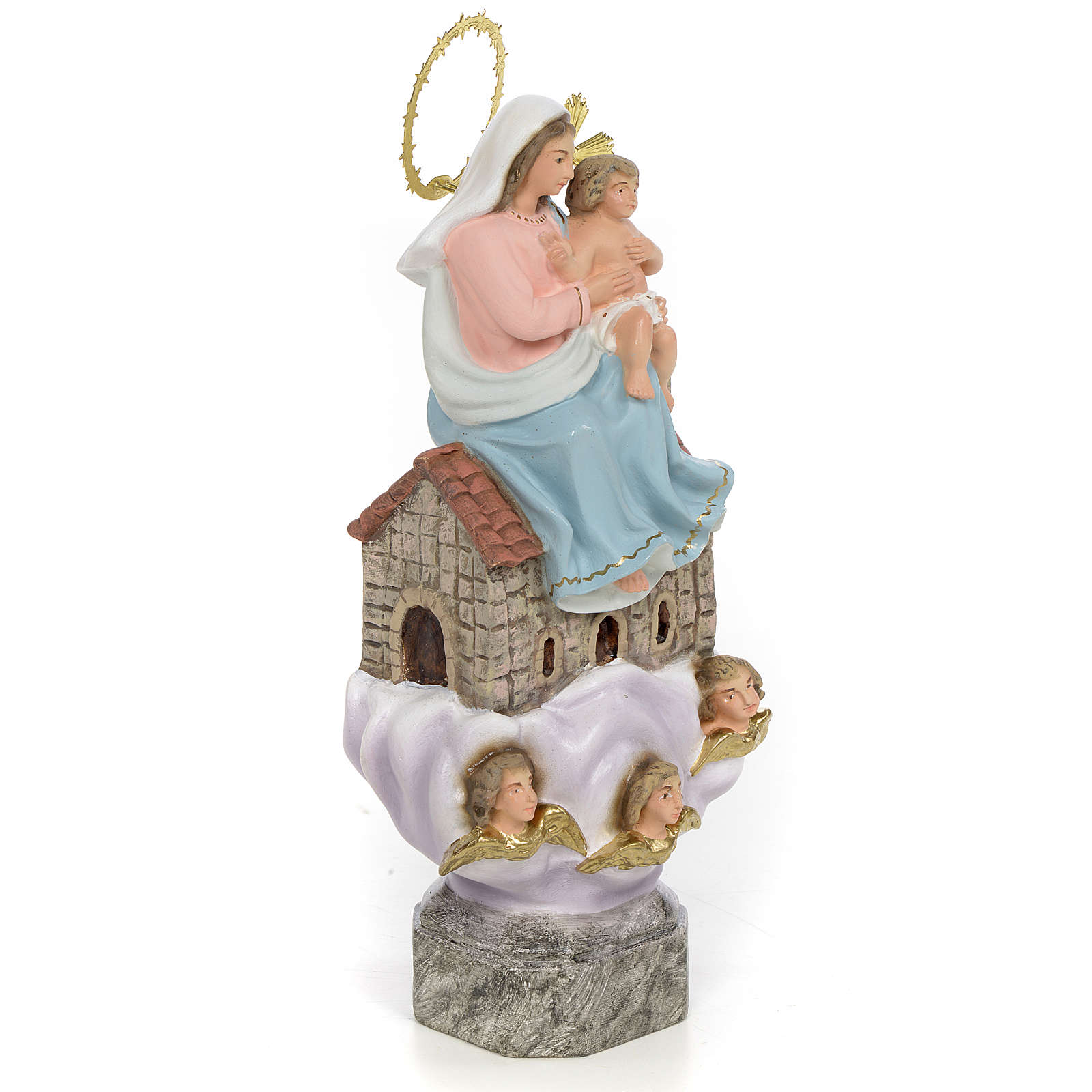 Our Lady of Loreto 20cm wood paste, elegant decoration 4