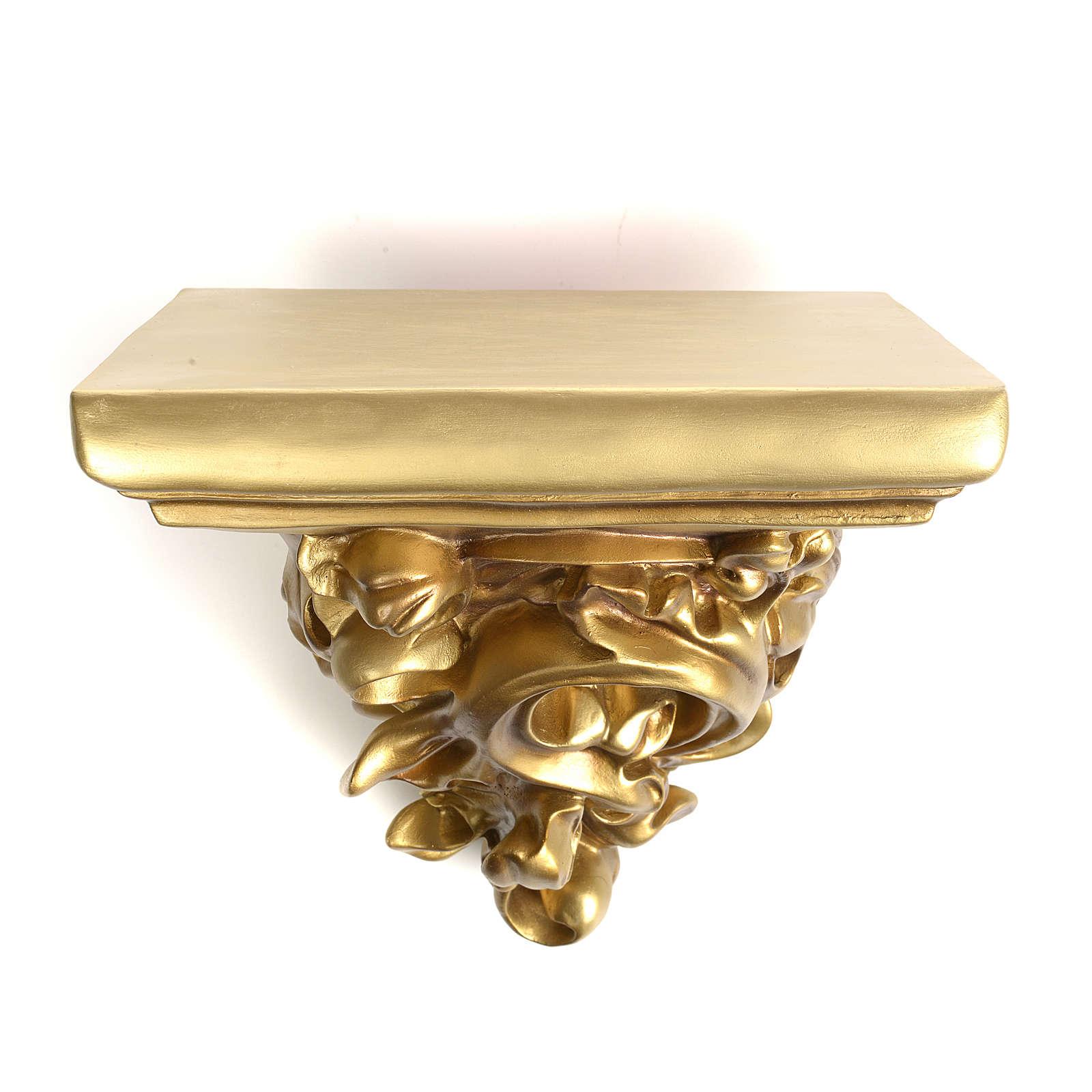 Mensola in pasta di legno per statue h 17 cm fin. dorata 4