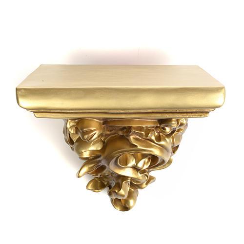 Mensola in pasta di legno per statue h 17 cm fin. dorata 1