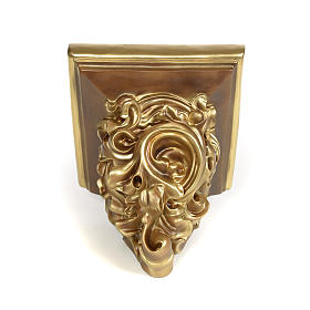 Shelf in wood paste for statues, 17cm, bronzed finish s3