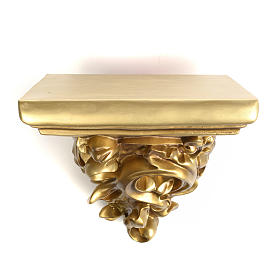 Shelf in wood paste for statues, 17cm, bronzed finish s1