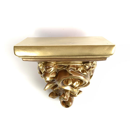 Shelf in wood paste for statues, 17cm, bronzed finish 2
