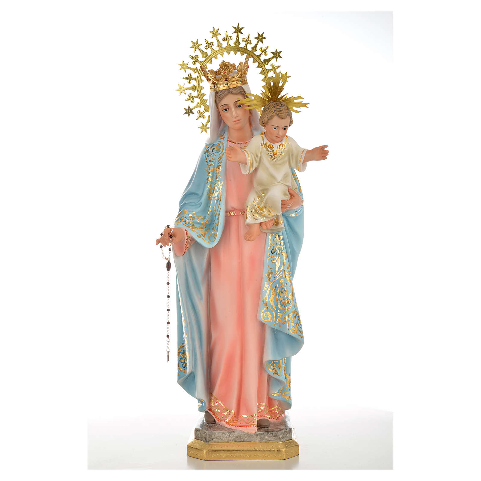 Our Lady of the Rosary 50cm in wood paste, superior decoration 4