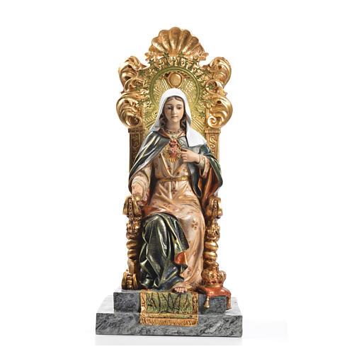 Sacro Cuore di Maria trono 40 cm pasta legno dec. superiore 1