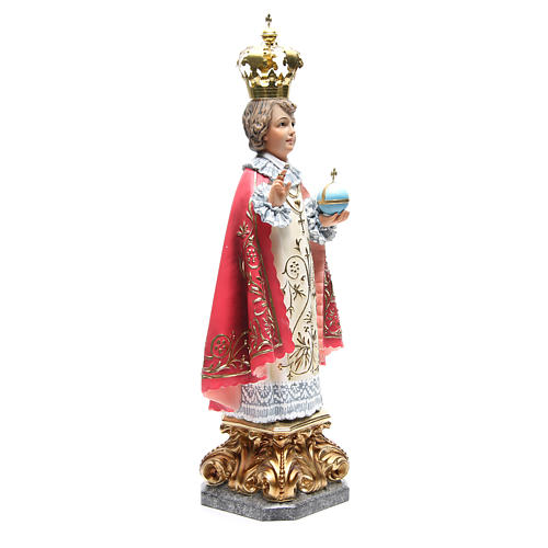 Infant Jesus of Prague 50 cm with elegant decorations in wood paste 4