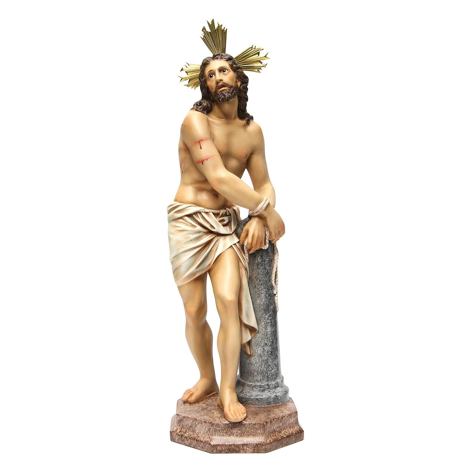 Gesù alla colonna 60 cm pasta di legno dec. anticata 4