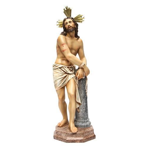 Gesù alla colonna 60 cm pasta di legno dec. anticata 1