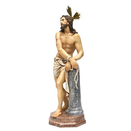 Gesù alla colonna 60 cm pasta di legno dec. anticata 2