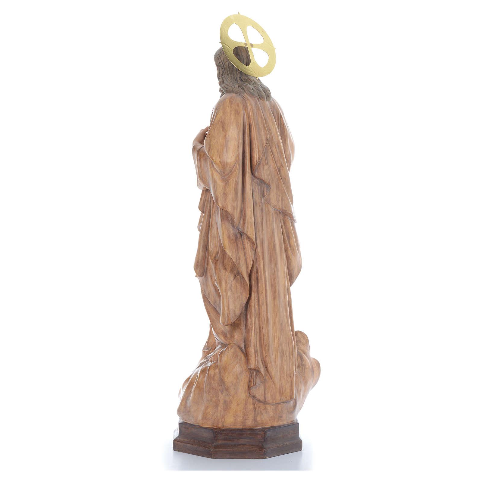 Sacro Cuore di Gesù 80 cm pasta di legno dec. brunita 4