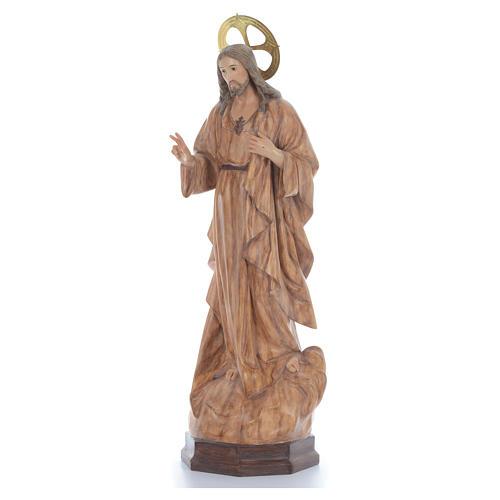 Sacro Cuore di Gesù 80 cm pasta di legno dec. brunita 2