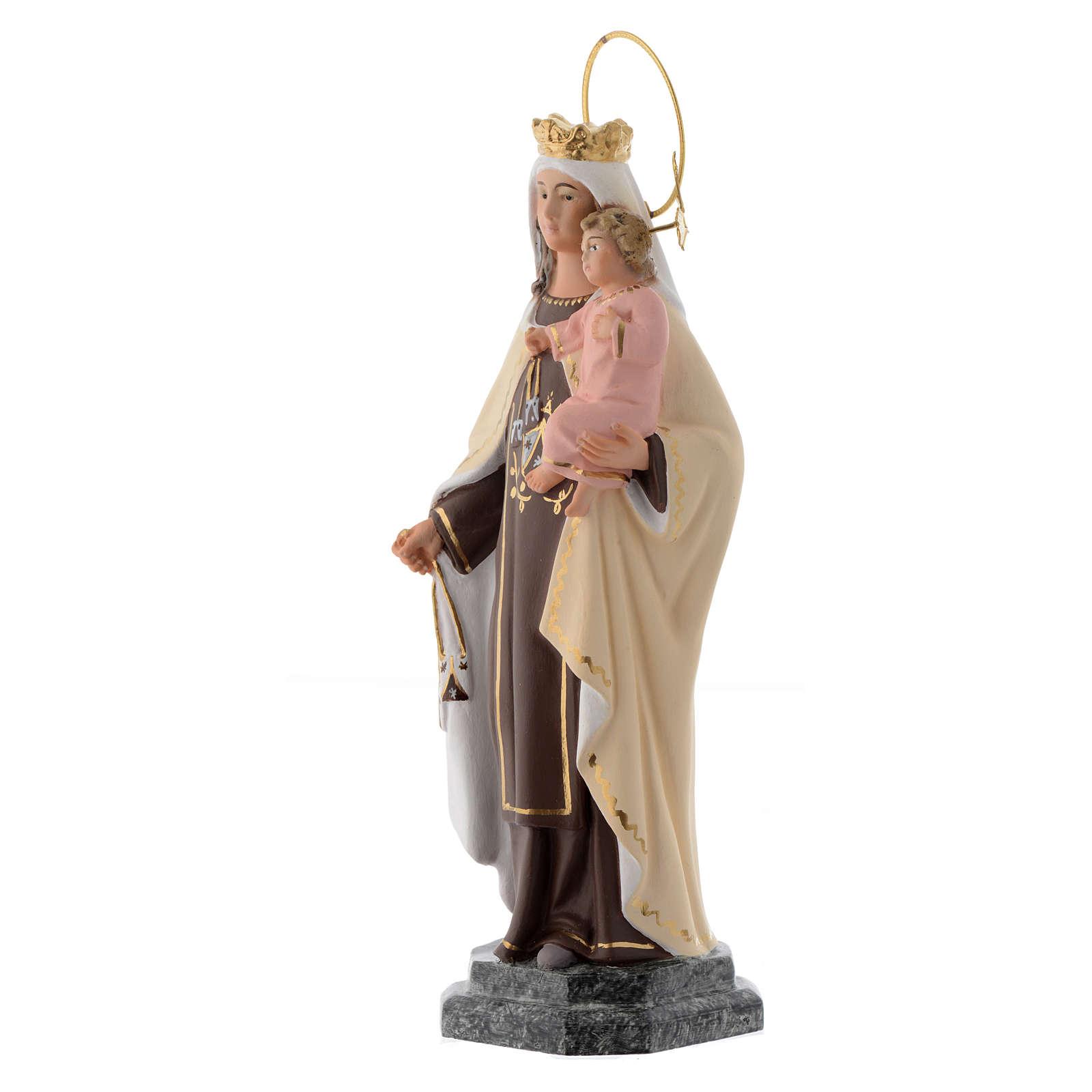 Vergine del Carmelo 20 cm pasta di legno dec. fine 4
