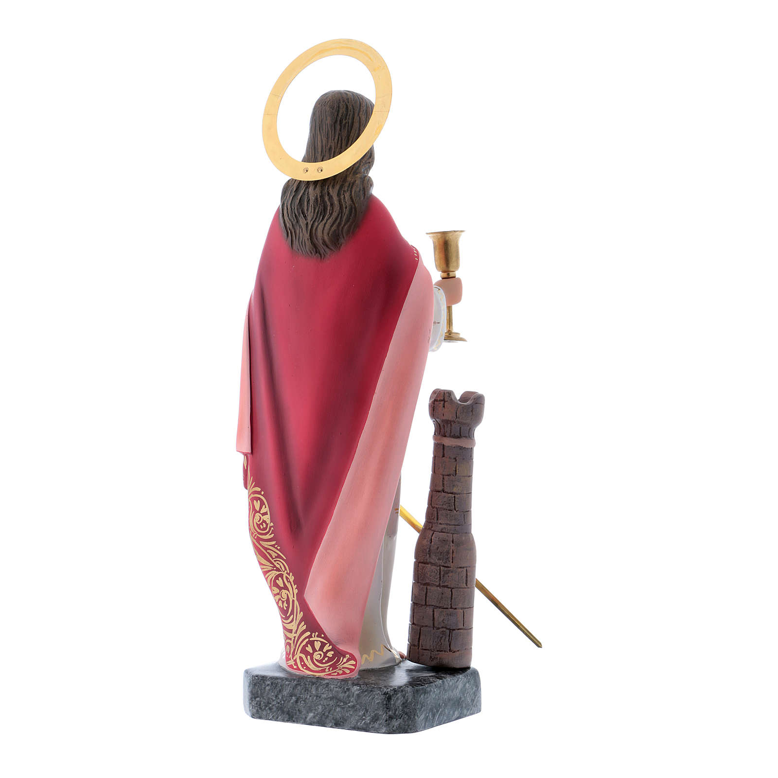 Saint Barbara statue in coloured wood paste 30 cm 4