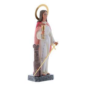Saint Barbara statue in coloured wood paste 30 cm s3