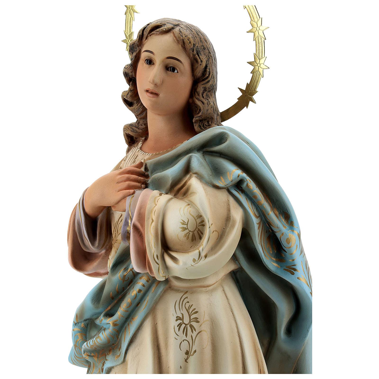 Statua Madonna immacolata 60 cm pasta legno dec. elegante 4