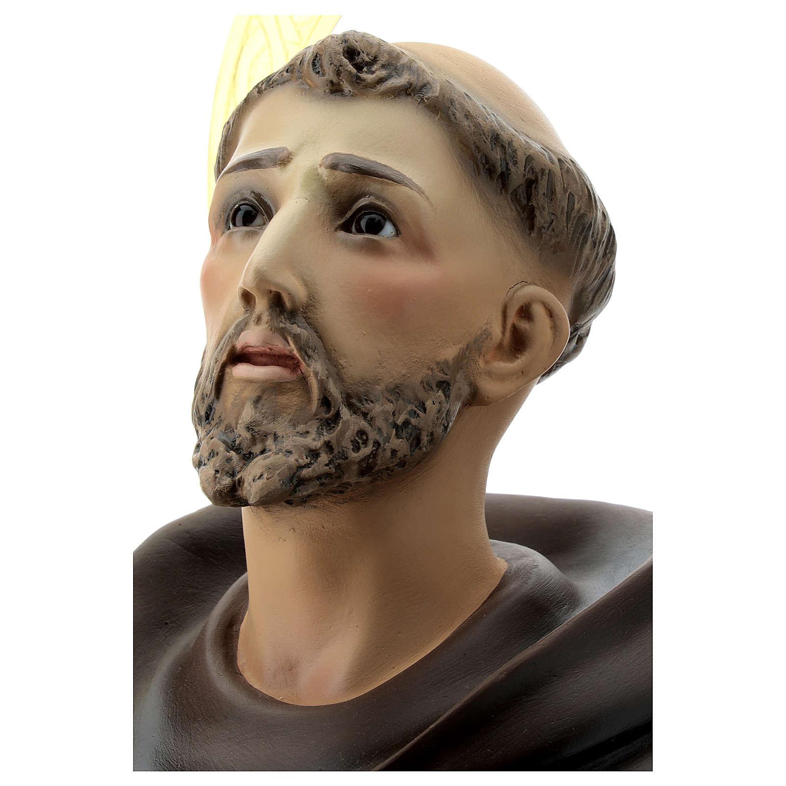 Estatua San Francisco de Asís 80 cm pulpa de madera dec. elegante 4