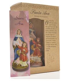 Sant'Anna 12 cm con immaginetta PREGHIERA SPAGNOLO s3